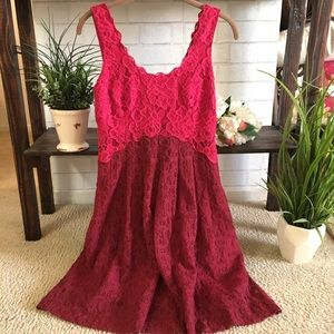 🆕🍃🌹🎉HP:{Anthropologie}: Red/Pink Lace Dress🍃